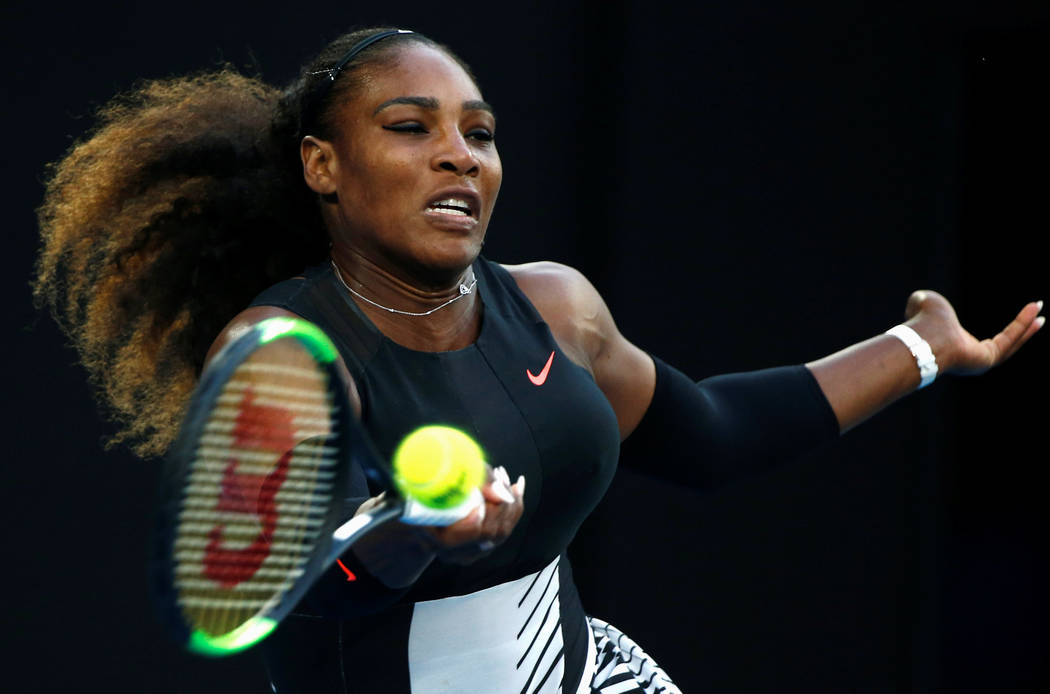 Serena Williams plays in the women's singles final match against her sister, Venus Williams, in the Australian Open in Melbourne, Jan. 28, 2017. Thomas Peter Reuters File