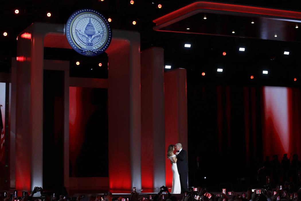 President Donald Trump dances with first lady Melania Trump at the Liberty Ball in Washington. Patrick Semansky/AP
