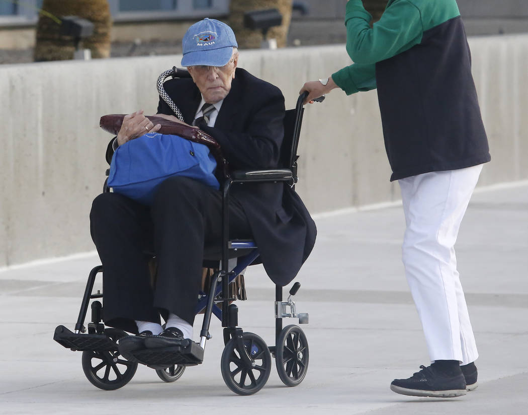 Dr. Henri Wetselaar, 93,is wheeled out of the Lloyd D. George United States courthouse on Tuesday, March 21, 2017, in Las Vegas. (Christian K. Lee/Las Vegas Review-Journal) @chrisklee_jpeg