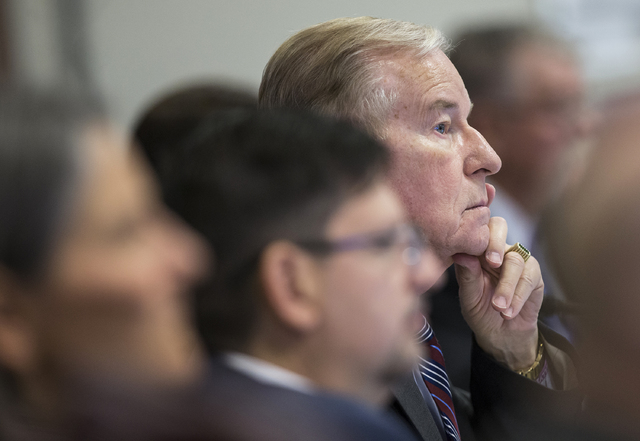 Sen. David Parks, D-Las Vegas, listens to testimony  during a Senate Government Affairs Committee meeting on the third day of the Nevada Legislative session on Wednesday, Feb. 8, 2017, at the Legi ...