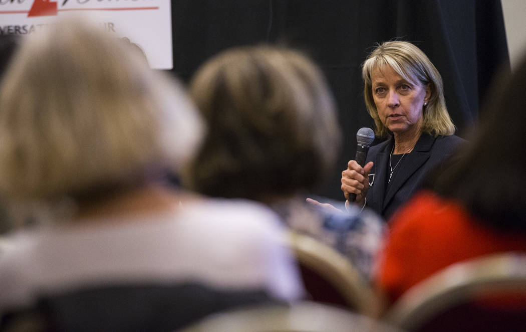 "Nevada Secretary of State Barbara Cegavske speaks as part of the ""Women2Women Conversations"" tour at the Sands Expo in Las Vegas on Wednesday, April 19, 2017. Chase Stevens Las V ..."