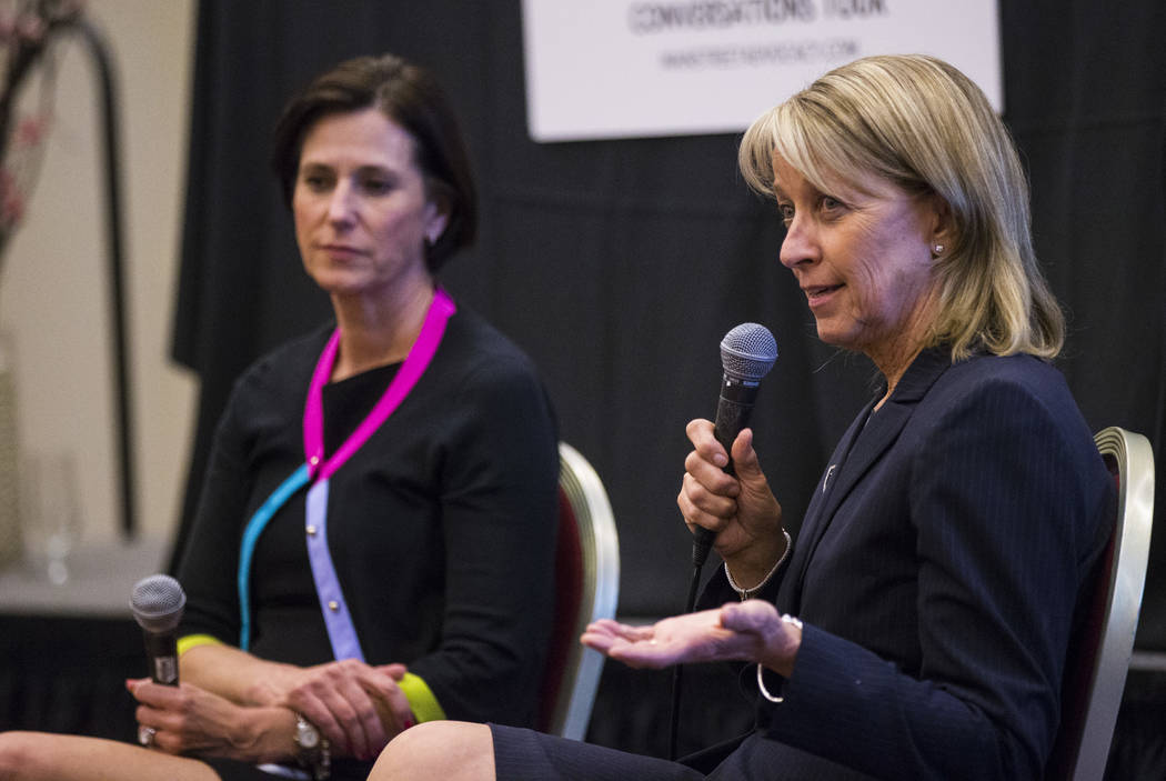 "Nevada Secretary of State Barbara Cegavske, right, speaks alongside U.S. Rep. Mimi Walters, R-Calif., as part of the ""Women2Women Conversations"" tour at the Sands Expo in Las Veg ..."