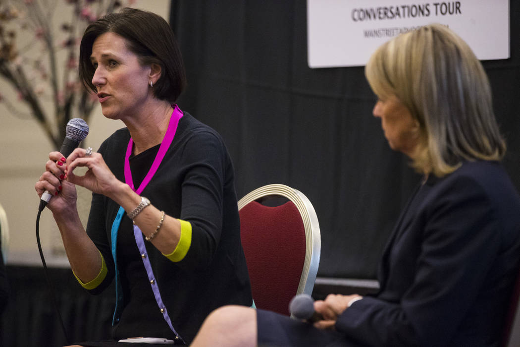 "U.S. Rep. Mimi Walters, R-Calif., speaks as part of the ""Women2Women Conversations"" tour at the Sands Expo in Las Vegas on Wednesday, April 19, 2017. Chase Stevens Las Vegas Revi ..."