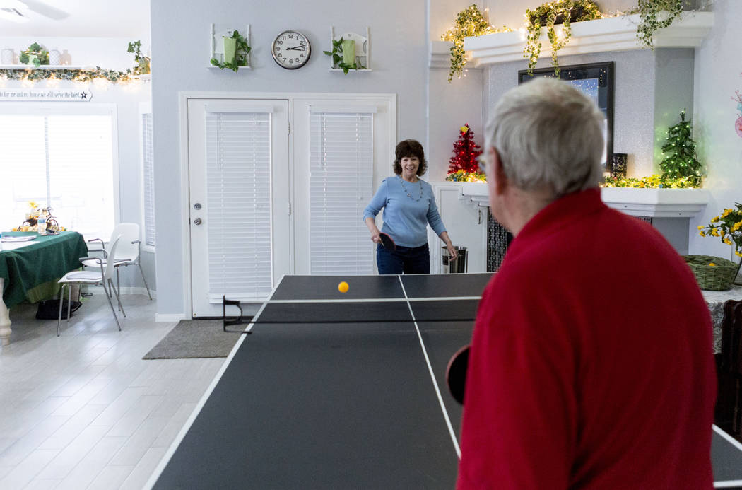 Joy and Harlan Dotson play ping pong in their home in Las Vegas, Thursday, March 30, 2017. Elizabeth Brumley Las Vegas Review-Journal @EliPagePhoto