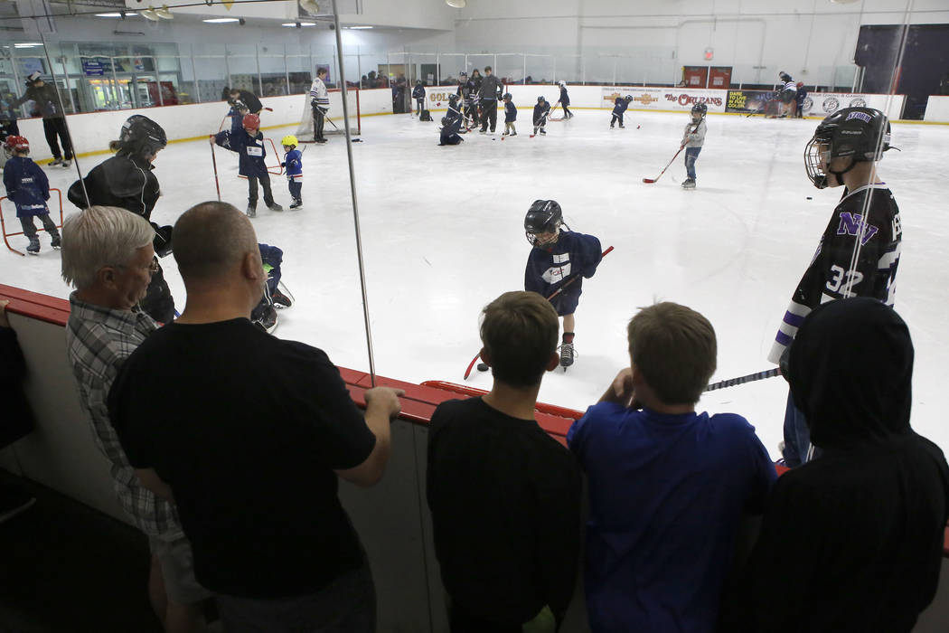 People watch as children skate during the Try Hockey for Free Day at the Las Vegas Ice Center on Saturday, April 15, 2017, in Las Vegas. Christian K. Lee Las Vegas Review-Journal @chrisklee_jpeg