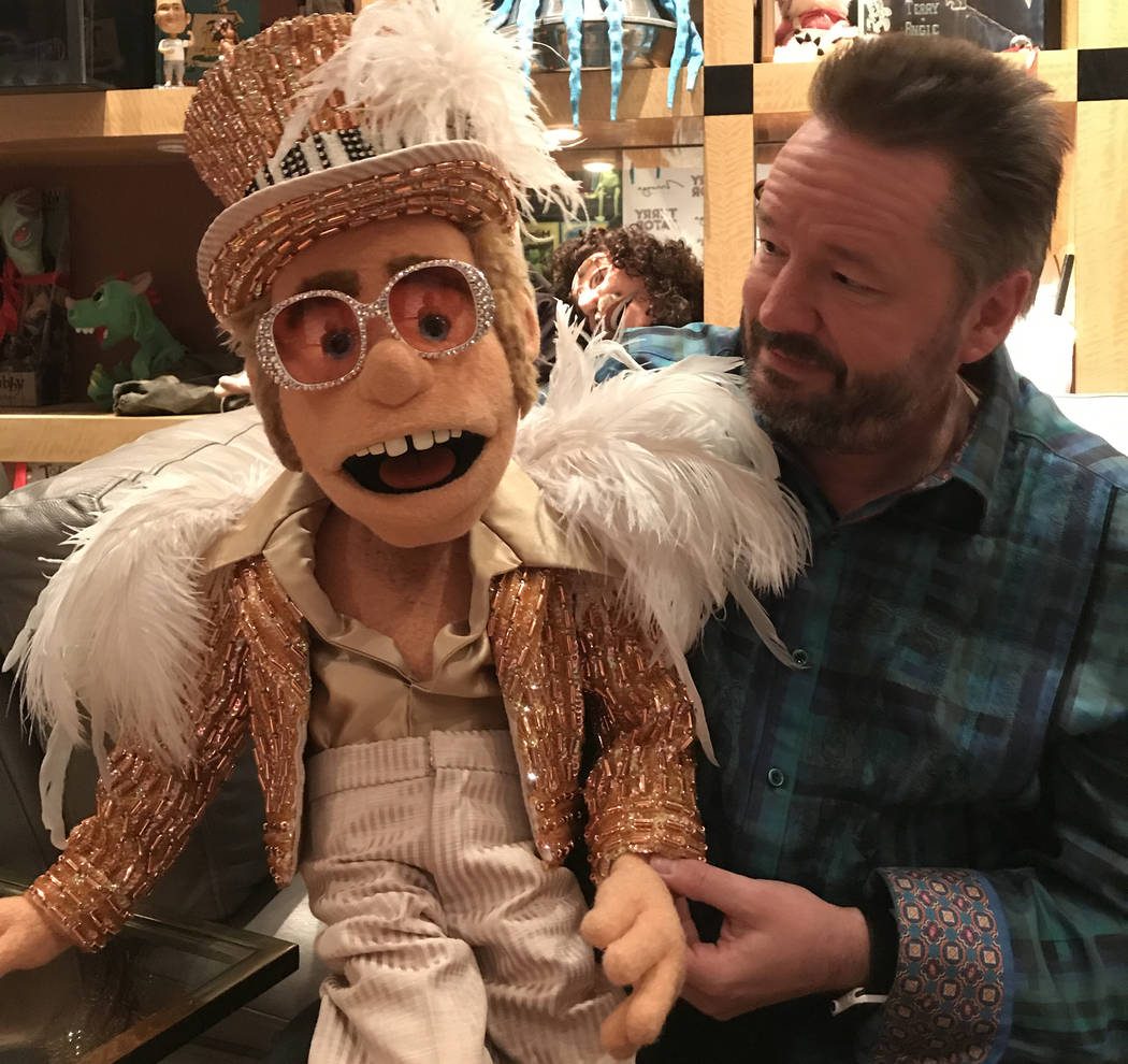 Terry Fator and his new puppet, Sir Elton John, backstage at The Mirage on Monday, March 6, 2017, in Las Vegas. (Courtesy)