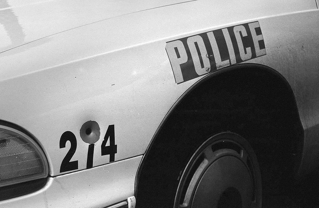 A bullet hole in a Las Vegas police car after riots on April 30, 1992 in Las Vegas. Las Vegas Review-Journal File Photo