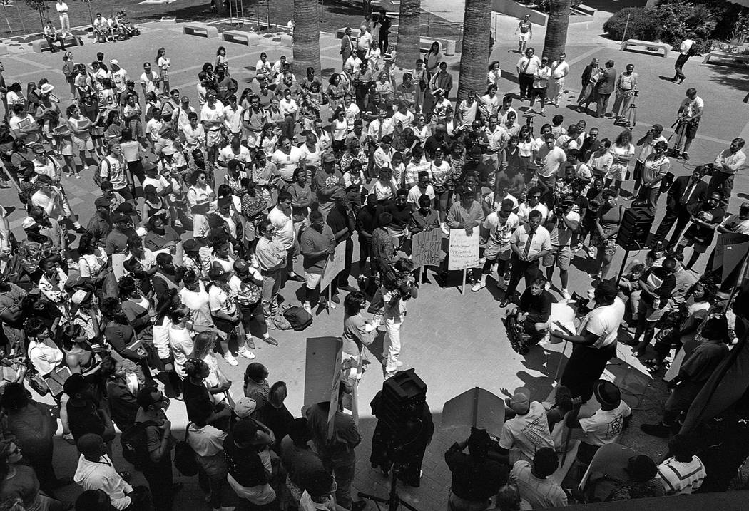 Protestors peacefully gather at UNLV on April 30, 1992 as rioters took to west Las Vegas. Las Vegas Review-Journal File Photo
