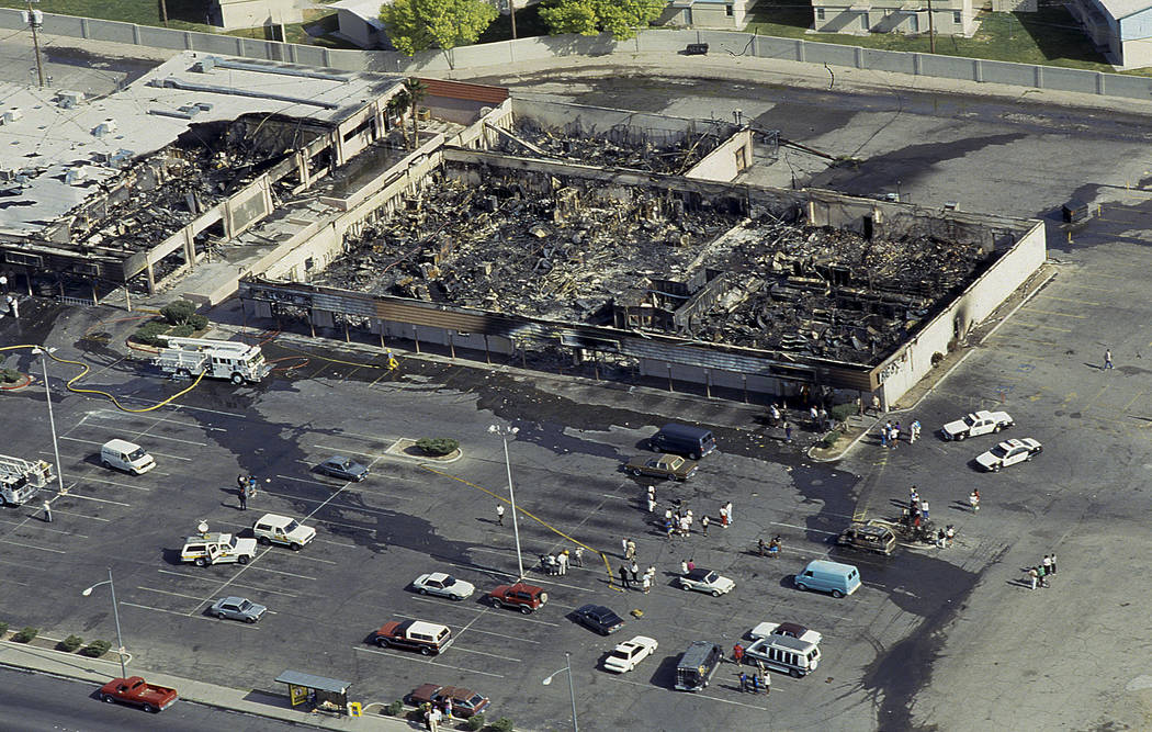 Nucleus Shopping Plaza, home to Nevada's NAACP offices, suffered damage from a fire as seen after the riots on May 1, 1992 in Las Vegas. Las Vegas Review-Journal File Photo