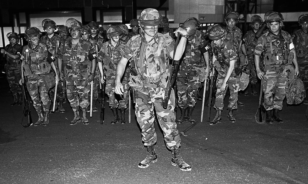 About 400 Nevada Guard troops mobilized in Las Vegas on the evening of the riots, April 30, 1992, but were not deployed. Las Vegas Review-Journal File Photo