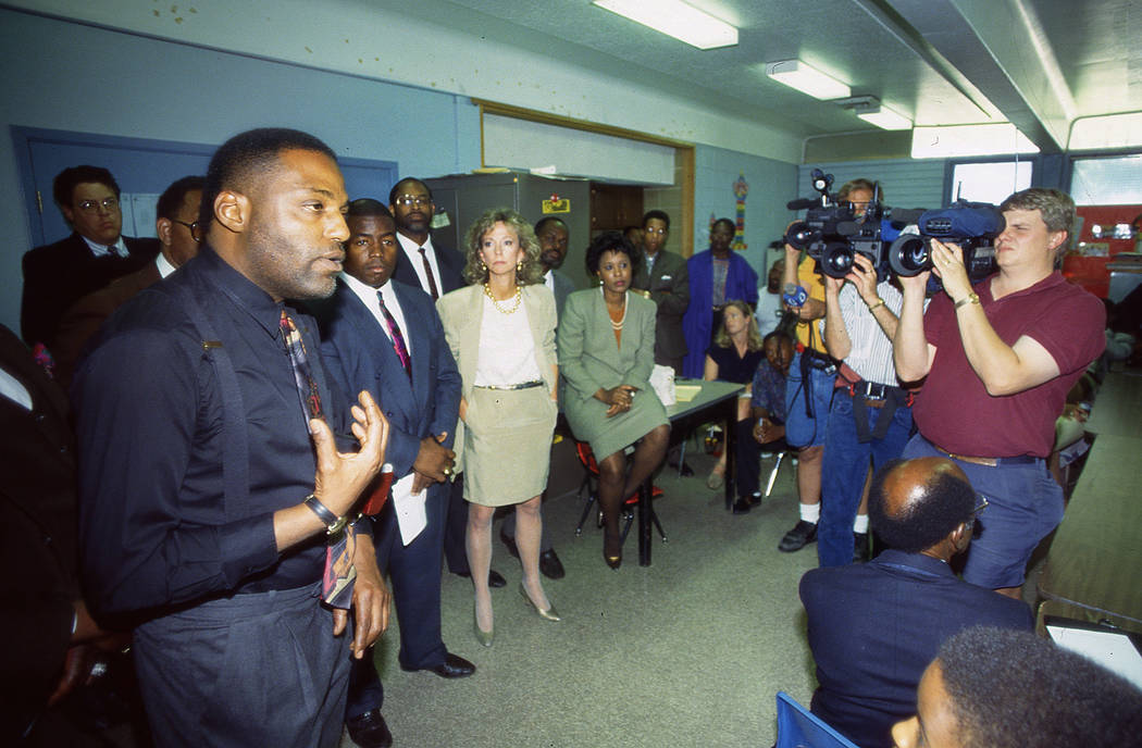 Assemblyman Wendell Williams speaks with west Las Vegas business owners and residents at the Doolittle Community Center on May 1, 1992, in Las Vegas. He stated that roadblocks around the riot-torn ...