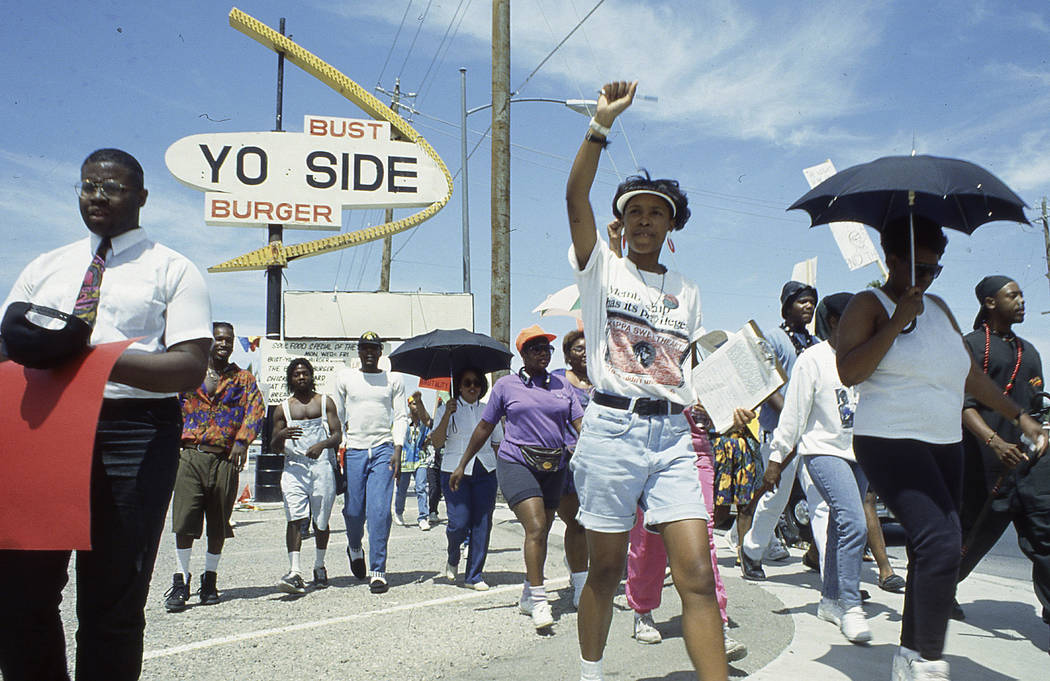 Protestors peacefully march to Las Vegas City Hall on May 2, 1992, following the acquittal of four LAPD officers in the Rodney King beating. Las Vegas Review-Journal File Photo