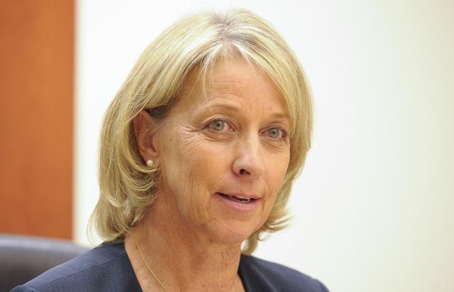 Barbara Cegavske speaks to the Las Vegas Review-Journal editorial board on Wednesday, Sept. 24, 2014. (Mark Damon/Las Vegas Review-Journal)