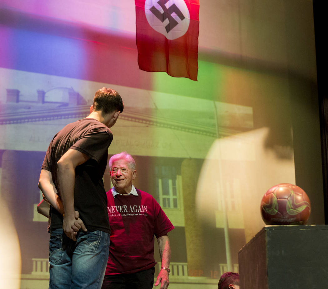 """Holocaust survivor Stephen ҐistaӠNasser helps during rehearsal of his play """"Not Yet, Pista"""" at Durango High School in Las Vegas, Thursday, April 20, 2017. Performance ..."""