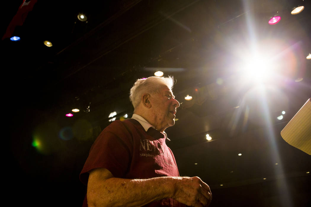 """Holocaust survivor Stephen ҐistaӠNasser on the set of his play """"Not Yet, Pista"""" at Durango High School in Las Vegas, Thursday, April 20, 2017. Performances will be at ..."""