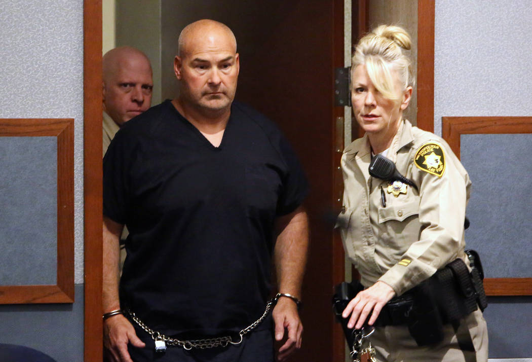 Las Vegas Fire captain Richard Loughry appears at the Regional Justice Center on Thursday, April 20, 2017, in Las Vegas. Loughry is accused of paying a 15-year-old girl $300 to have sex with him i ...