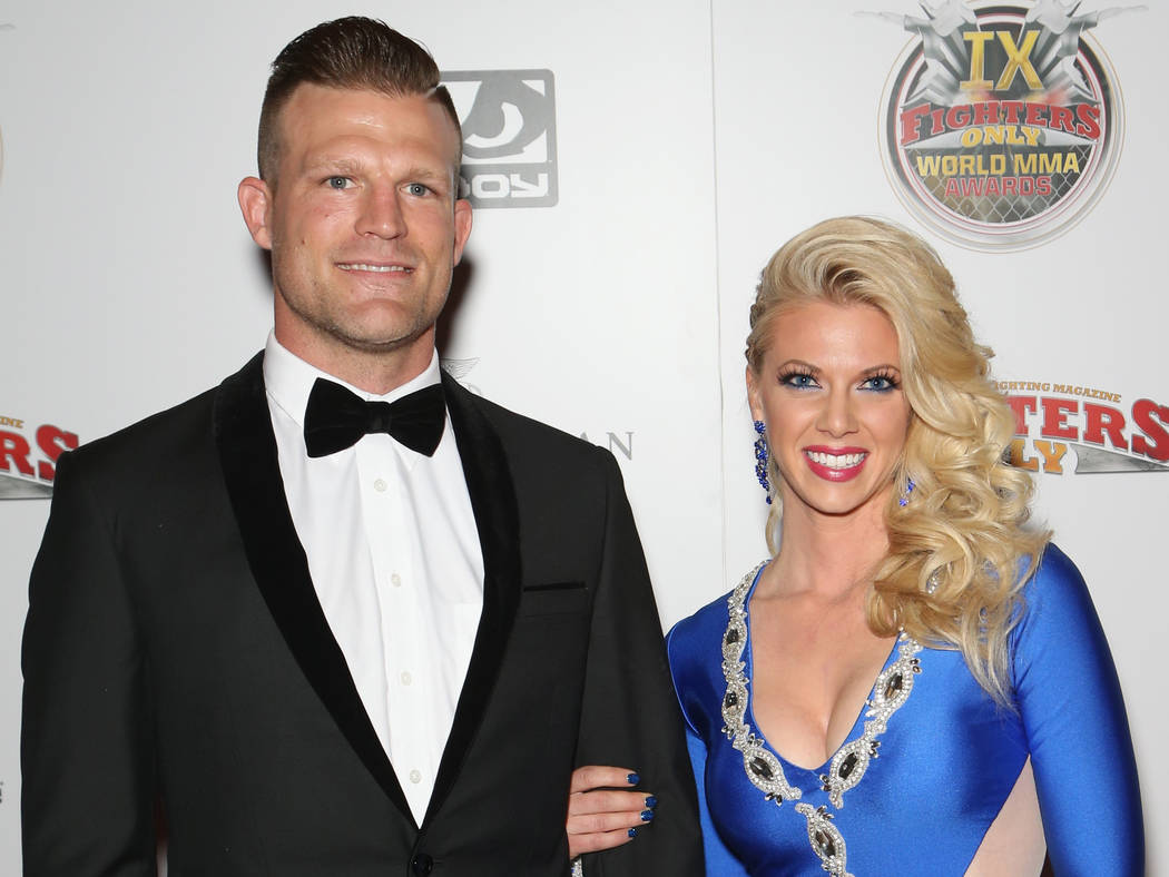 TV personality and former MMA fighter Bristol Marunde and his wife, Aubrey Marunde, attend the ninth-annual Fighters Only World Mixed Martial Arts Awards at The Palazzo on Thursday, March 2, 2017, ...