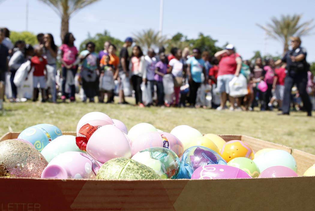 Children lined up to participate in the annual Easter egg hunt event at Doolittle Community Field on Tuesday, April 10, 2017, in Las Vegas. Bizuayehu Tesfaye Las Vegas Review-Journal @bizutesfaye