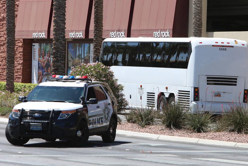 Las Vegas police investigate a fatal crash that left a bicyclist dead in the western Las Vegas Valley, near Red Rock Resort, on Tuesday, April 18, 2017, in Las Vegas. Bizuayehu Tesfaye Las Vegas R ...