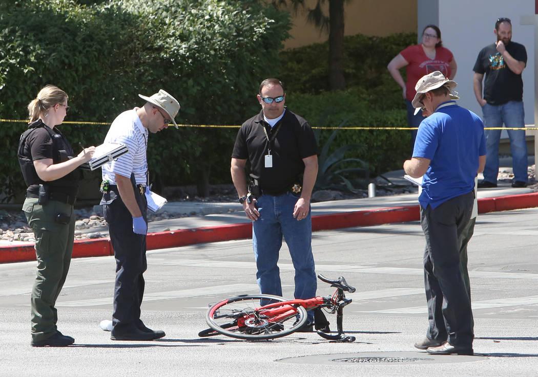 Las Vegas police investigate a fatal crash that left a bicyclist dead in the western Las Vegas Valley, near Red Rock Resort, on Tuesday, April 18, 2017, in Las Vegas. (Bizuayehu Tesfaye/Las Vegas  ...