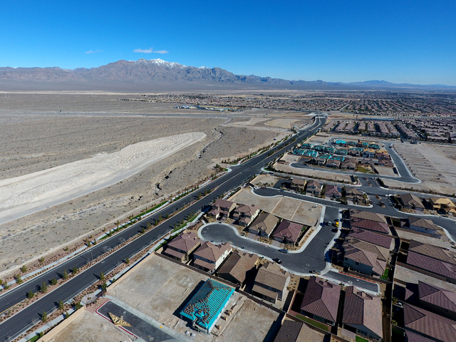 Michael Quine/RJNewHomes.Vegas Development is underway at the Keystone subdivision in Skye Canyon, a master-planned community in northwest Las Vegas. This aerial photo was taken Jan. 26.