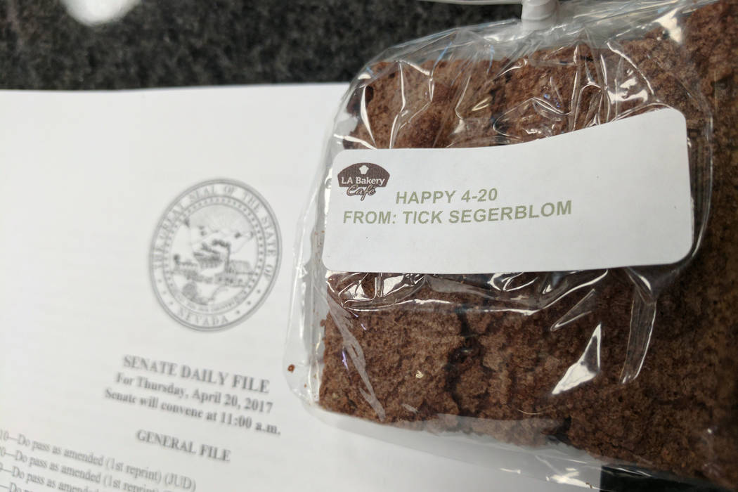 Marijuana advocate State Sen. Tick Segerblom, D-Las Vegas, handed out brownies around the Nevada Legislature on Thursday to mark the pot holiday 4/20. Segerblom said the brownies were not laced wi ...