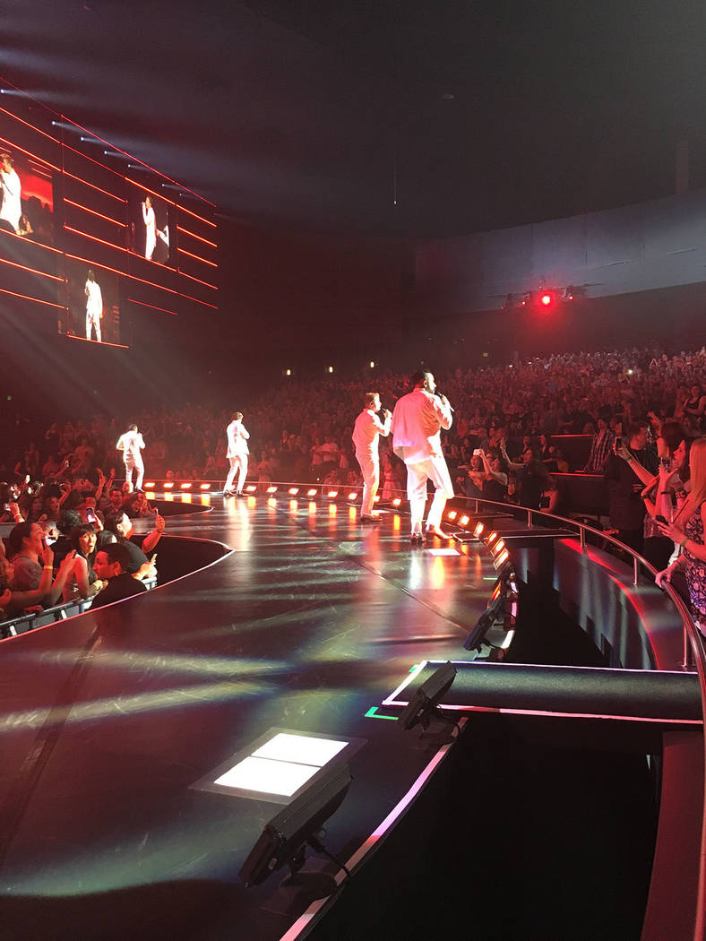 The Backstreet Boys are shown playing to a full house at Axis theater at Planet Hollywood on April 19, 2017. (John Katsilometes/Las Vegas Review-Journal). @JohnnyKats