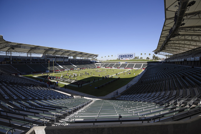 A general view of the StubHub Center prior to an NFL football news conference to introduce Anthony Lynn as the Los Angeles Chargers new head coach in Carson, Calif., Tuesday, Jan. 17, 2017. (Kelvi ...