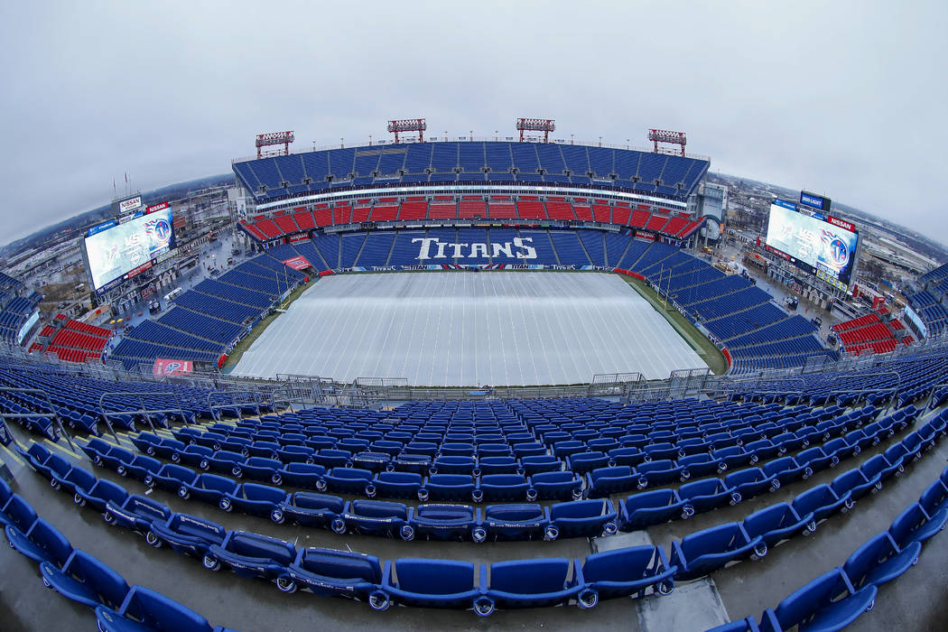 A general overall upper deck or upper level stadium view of Nissan Stadium in Nashville, Tennessee with the tarp on the field before a week 17 NFL football game against the Tennessee Titans on Sun ...