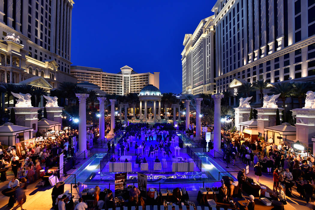Guests attend Vegas Uncork'd by Bon Appetit presented by Chase Sapphire Preferred 10th anniversary Grand Tasting at Caesars Palace on April 29, 2016, in Las Vegas. David Becker Getty Images