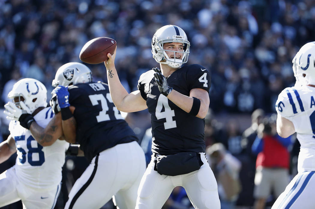 Oakland Raiders quarterback Derek Carr (4) passes against the Indianapolis Colts during the first half of an NFL football game in Oakland, Calif., Saturday, Dec. 24, 2016. (AP Photo/Tony Avelar)