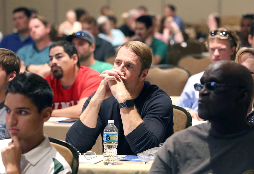 Attendees, including Brook Morrow, center, at FAPA's Future Pilot Forum at Tuscany Suites & Casino on Saturday, April 22, 2017, in Las Vegas. Bizuayehu Tesfaye Las Vegas Review-Journal @bizute ...