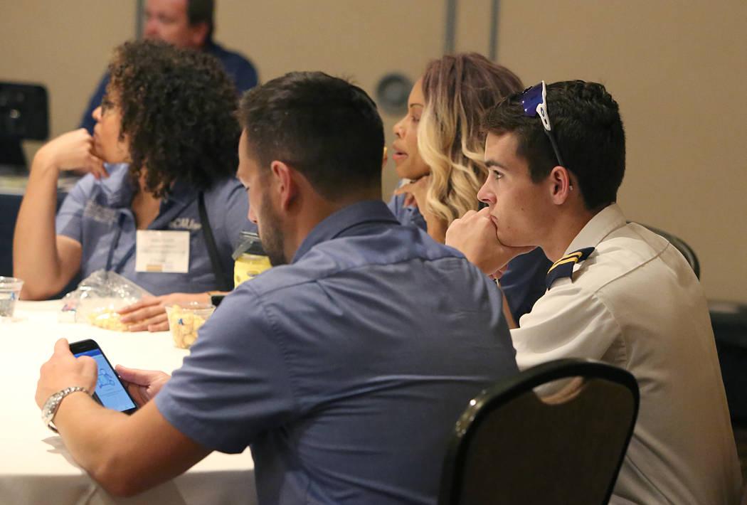 Attendees, including Jacob Jepson of Bakersfield, Calif., right, at FAPA's Future Pilot Forum at Tuscany Suites & Casino on Saturday, April 22, 2017, in Las Vegas. Bizuayehu Tesfaye Las Vegas  ...