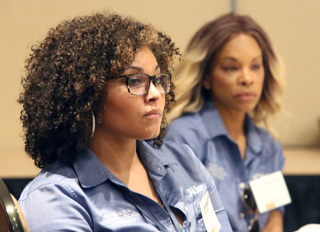 Adia Smith, left, and Tamu Smith-Khols, both of Bakersfield, Calif., at FAPA's Future Pilot Forum at Tuscany Suites & Casino on Saturday, April 22, 2017, in Las Vegas. Bizuayehu Tesfaye Las Ve ...