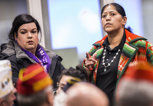 Raquel Arthur looks for a seat before the start of a Senate Government Affairs Committee meeting to discuss a resolution to replace Columbus Day with Indigenous People Day at the Nevada Legislativ ...