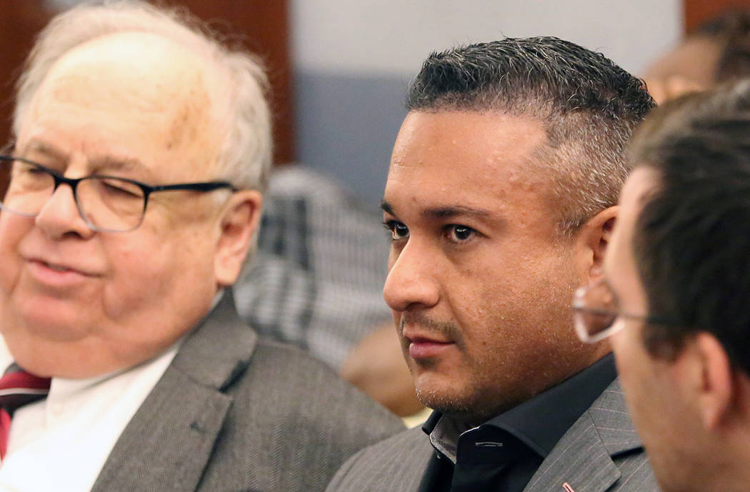 """David """"Vegas Dave"""" Oancea, right, who is charged with domestic violence, appears with his attorney Tom Pitaro at the Regional Justice Center on Friday, April 21, 2017, in Las Vegas. Bizuayehu Tesf ..."""