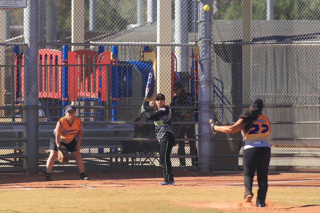 Dames Got Game from Arizona face off against Misfits from California during the 2017 Senior Softball Southwest Championships at Lorenzi Park on Friday, April 21, 2017. The tournament is being play ...
