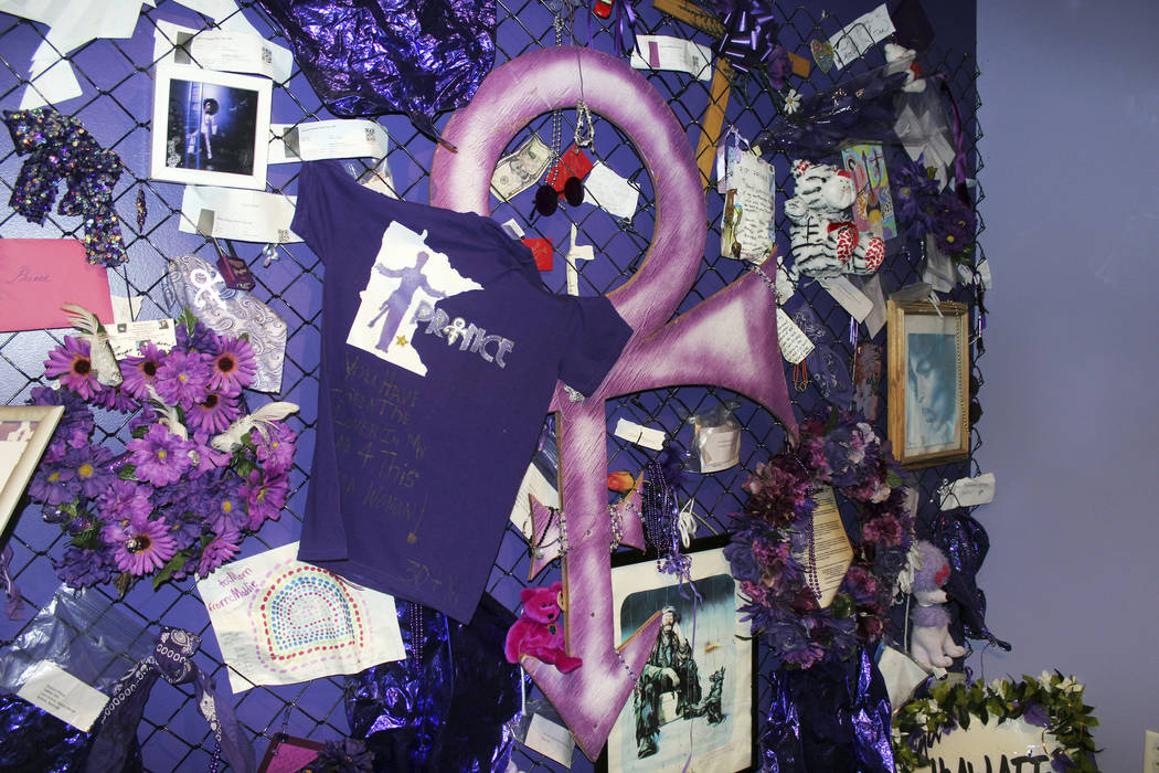 A replica of the Memorial Fence is shown at Prince's Paisley Park in Chanhassen, Minn. Paisley Park, home and studio of the late musician Prince, is open for public tours on Nov. 2, 2016. Jeff Bae ...