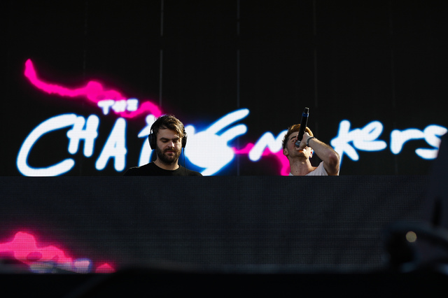 The Chainsmokers perform during iHeartRadio's Daytime Village music festival at the MGM Resorts Village festival site in Las Vegas on Saturday, Sept. 24, 2016. Miranda Alam/Las Vegas Review-Journa ...