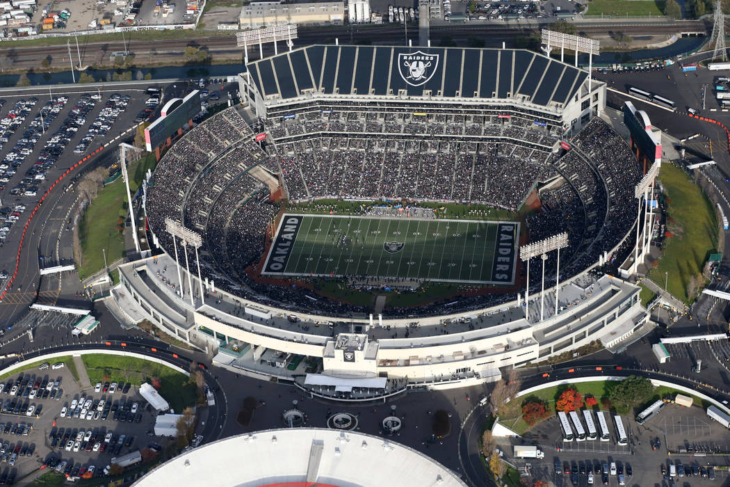National Football League team, the Oakland Raiders, play the Buffalo Bills during their NFL game at Oakland Alameda Coliseum of Oakland, California, U.S. December 4, 2016. (Lucy Nicholson/File/Reu ...