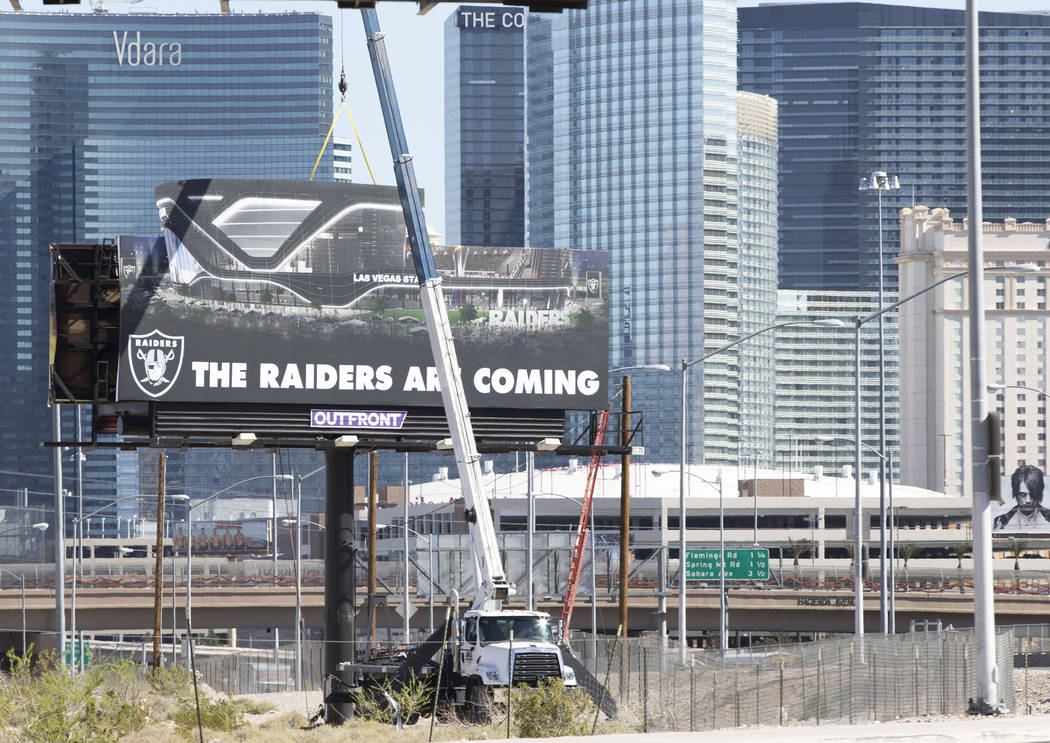 A Raiders billboard is erected Friday, April 21, 2017, at the proposed Russell Road stadium site in Las Vegas. Heidi Fang/Las Vegas Review-Journal @HeidiFang