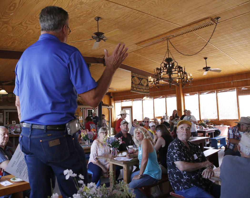 Goodsprings Justice of the Peace Dawn Haviland's lawyer Al Marquis speaks to a crowd of supporters at Sandy Valley ranch on Saturday, April 22, 2017, in Sandy Valley, California. Christian K. Lee  ...