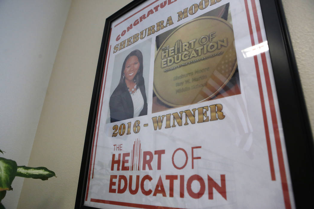 CCSD teacher Sheburra Moore-Haugsness's award in her classroom at Roy Martin Middle School on Tuesday, April 25, 2017, in Las Vegas. Moore-Haugsness is the recipient of a Heart of Education award. ...