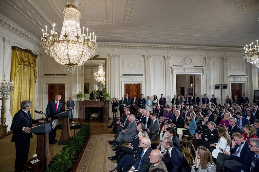 President Donald Trump and Italian Prime Minister Paolo Gentiloni hold a news conference in the East Room of the White House in Washington, Thursday, April 20, 2017. (Andrew Harnik/AP)