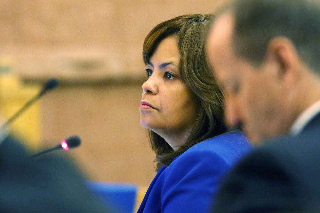 Yolanda King, chief financial officer of Clark County, attends a meeting of the Clark County Board of Commissioners at Clark County Government Center, Tuesday, Sept. 20, 2016, in Las Vegas. Ronda  ...