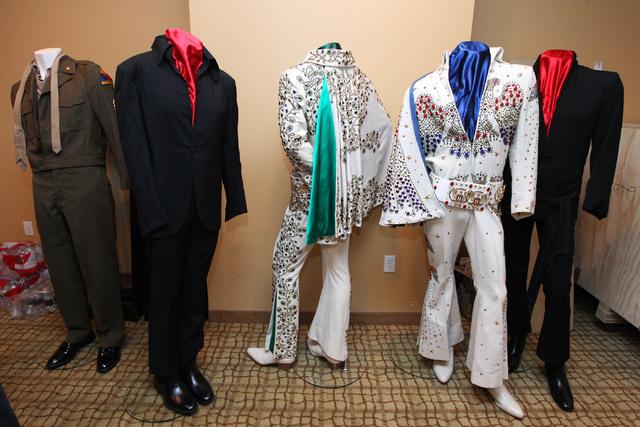 """Elvis Presley outfits that were part of """"Elvis: The Exhibition"""" are seen at Westgate Las Vegas in Las Vegas Thursday, April 16, 2015. (Erik Verduzco/Las Vegas Review-Journal) Follow Erik Verduzco  ..."""