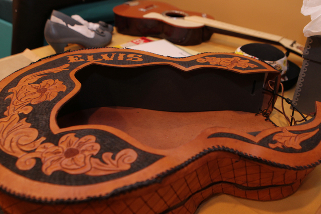 A guitar cover that belonged to Elvis Presley and that was be part of the Direct from Graceland, Elvis the Exhibition at Westgate Las Vegas casino-hotel in Las Vegas is seen on Thursday, April 16, ...