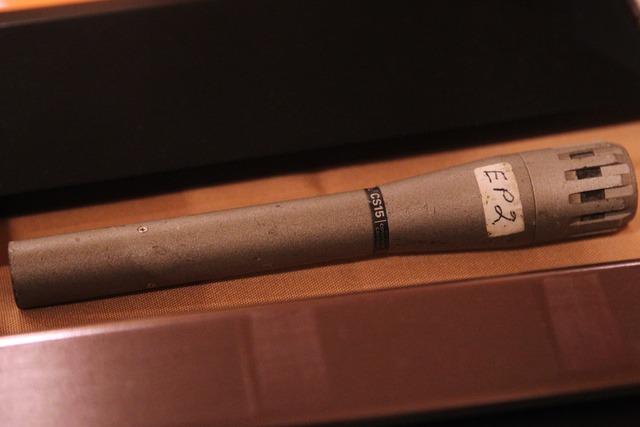 A microphone that belonged to Elvis Presley and that was part of the Direct from Graceland, Elvis the Exhibition at Westgate Las Vegas casino-hotel in Las Vegas is seen on Thursday, April 16, 2015 ...