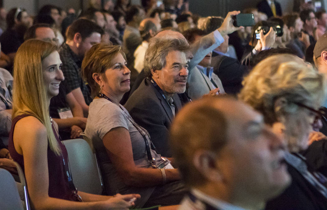 Attendees view a livestream with NASA in 4k at the National Association of Broadcasters Show in Las Vegas on Wednesday, April 26, 2017. Miranda Alam Las Vegas Review-Journal @miranda_alam