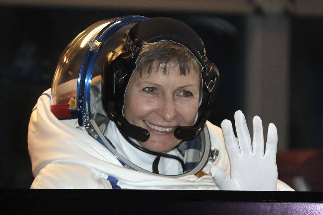 Peggy Whitson, a NASA astronaut aboard the International Space Station, spoke with a crowd Wednesday at the Las Vegas Convention Center in the first-ever, 4K live stream from space. (Dmitri Lovets ...